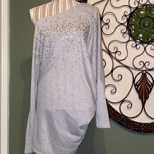 Venus dress L grey w/shimmer asymmetrical bodycon